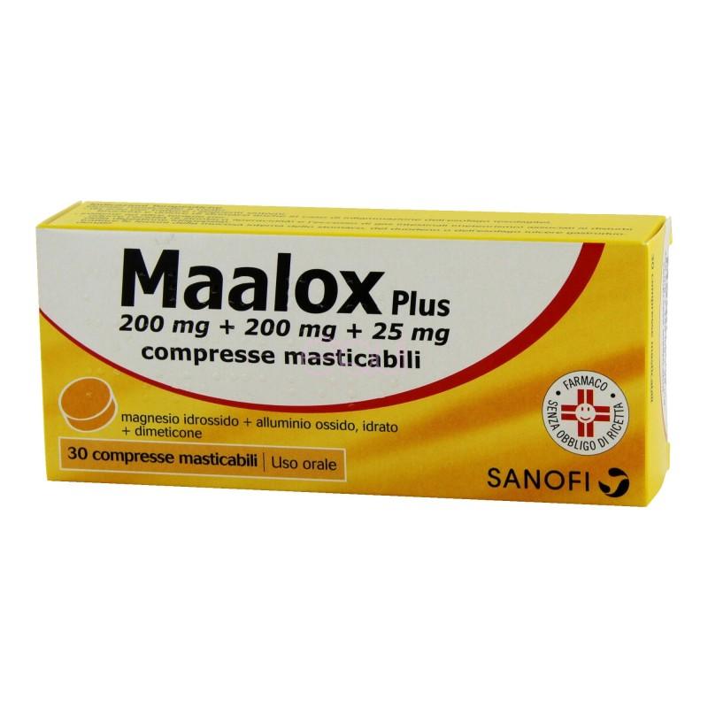 Maalox Plus Acidità di stomaco e Gonfiore 30 Compresse Masticabili