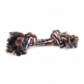 Beeztees corda colorata in cotone con due nodi giocattolo per cane