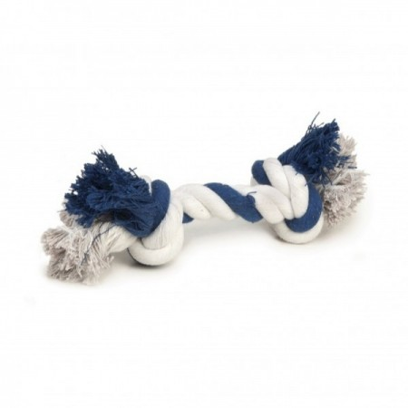 Beeztees corda colorata bianca e blu con due nodi giocattolo per cane